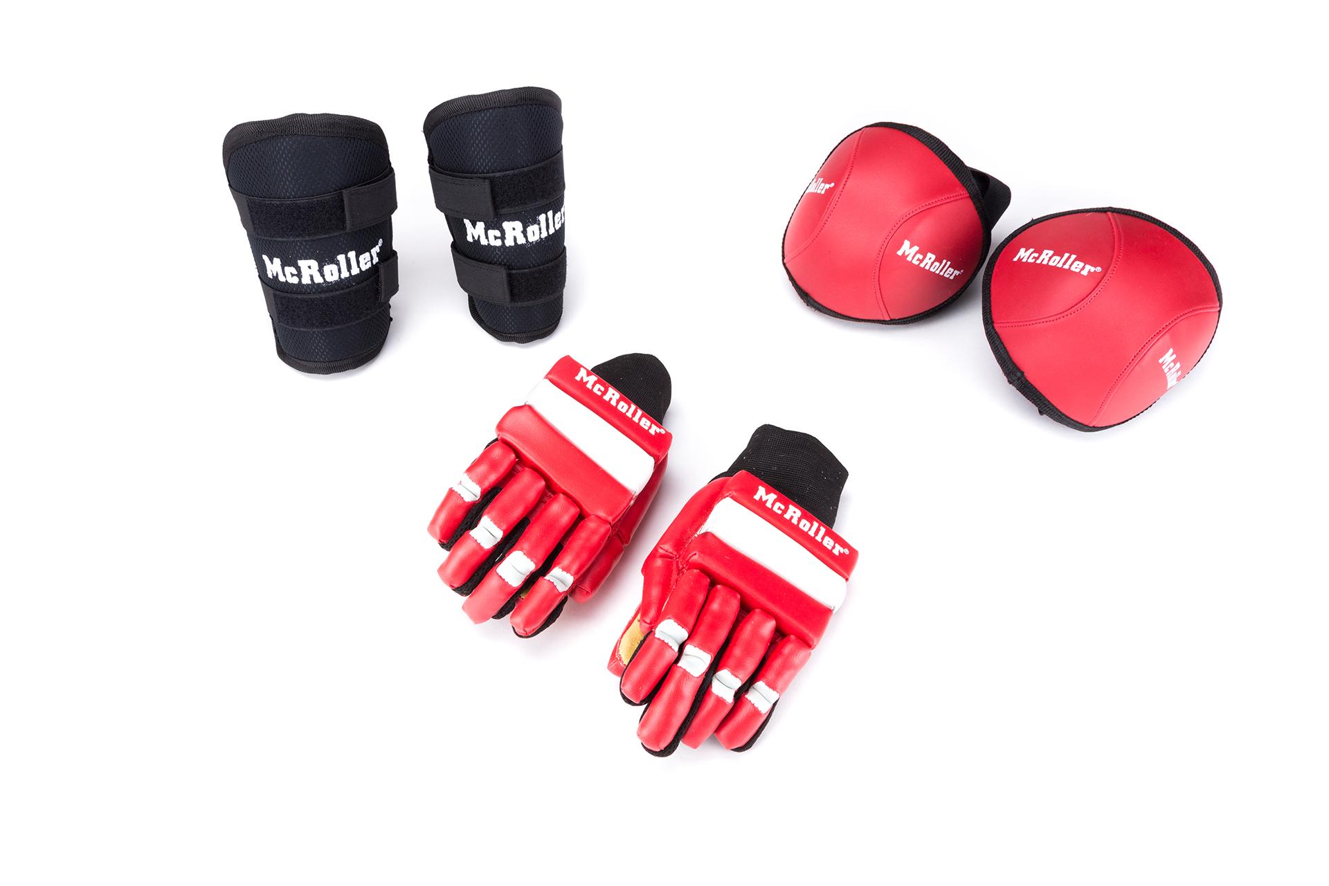 mcroller pack espinilleras guantes rodilleras